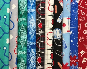 First responder  Fat Quarters cotton fabric Shipping same day Thank you doctor nurse Medical Health Care Heart