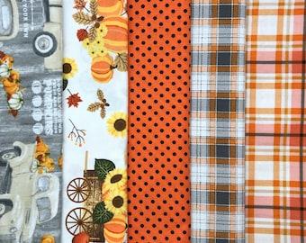 Thanksgiving fabric, Autumn fall pumpkin plaid premium cotton fabric, Harvest fabric