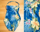 Sexy 1990s Blue Tropical High Cut Halter One Piece Swimsuit by Garbar House Beach - Large