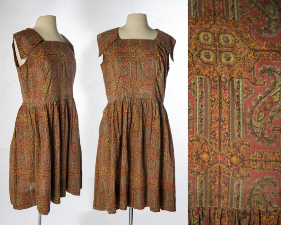Lovely 1960s Red Brown Paisley Print Sleeveless C… - image 1