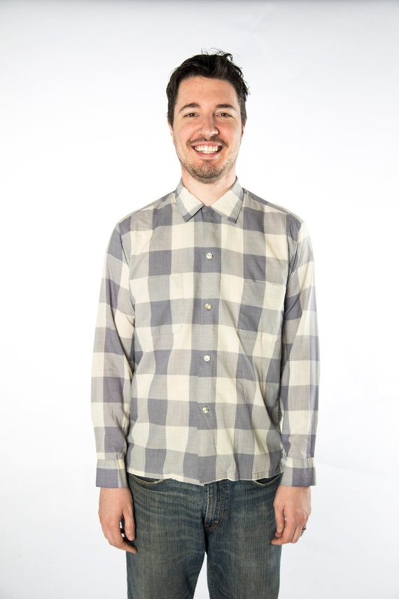 1960s Pilgrim Checkered Grey Tones Button Up Shir… - image 8