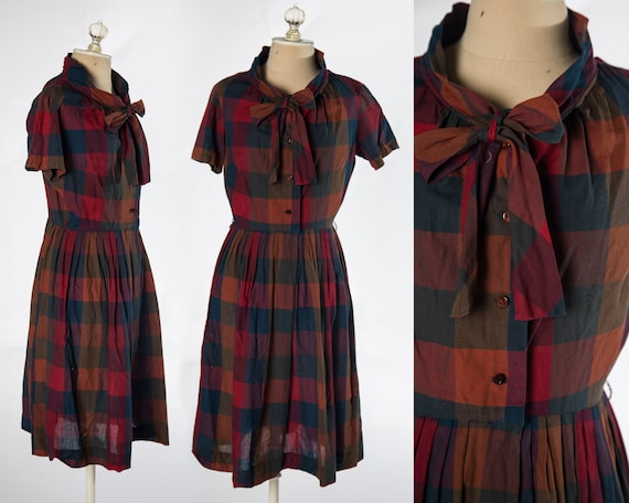 Amazing 1950s Red Plaid Cotton Shirtdress by Mr. K