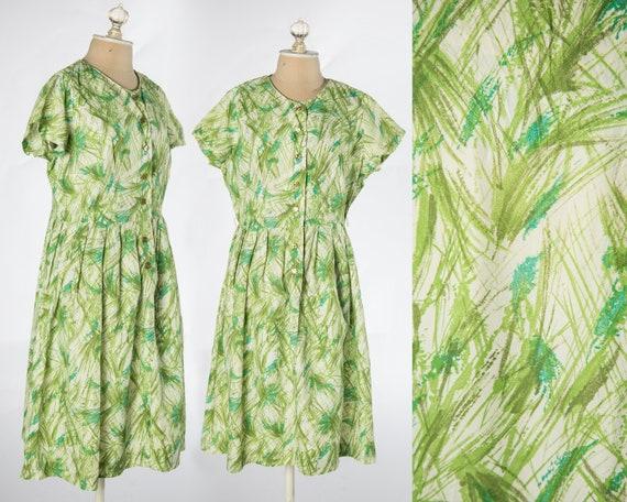 Lovely 1950s - 1960s Green Abstract Grass like Pri