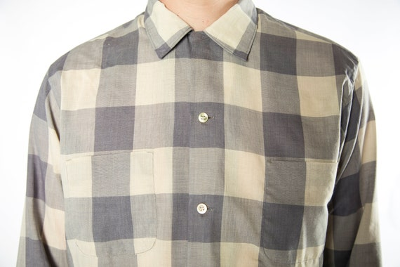 1960s Pilgrim Checkered Grey Tones Button Up Shir… - image 2