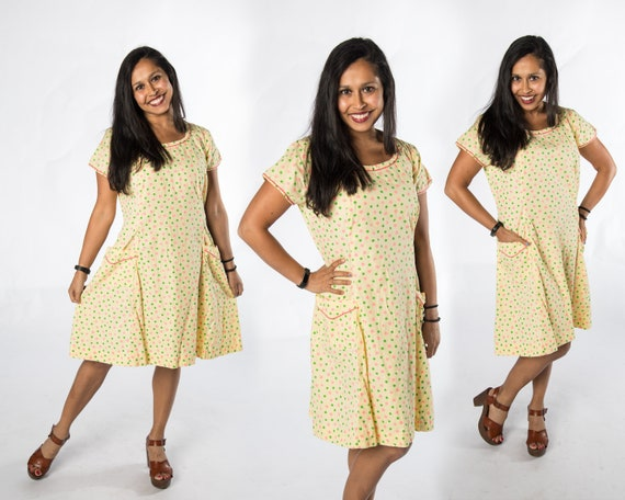 Fun 1940s Yellow Dress w Pink and Green Dots Sackd
