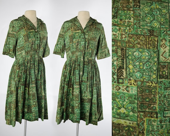 Beautiful 1950s - 1960s Abstract Green and Brown S