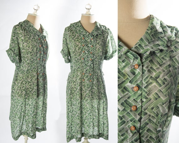 Pretty 1950s Green Block Shirt Semi Sheer Shirt Dr