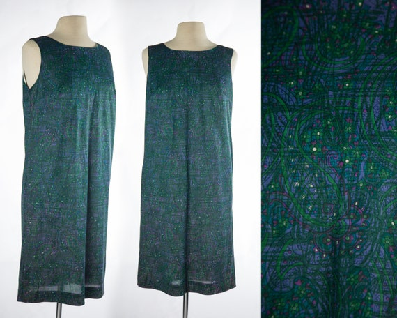 Psychedelic 1960s Green Purple Blue Paisley and F… - image 1
