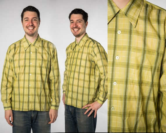 1970s Lime Green Plaid Button Up Top  Design by Se