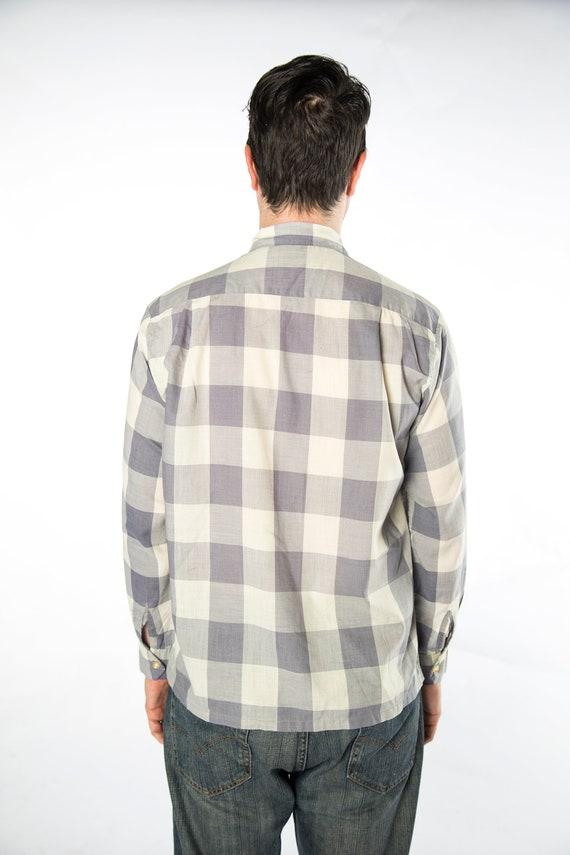 1960s Pilgrim Checkered Grey Tones Button Up Shir… - image 4