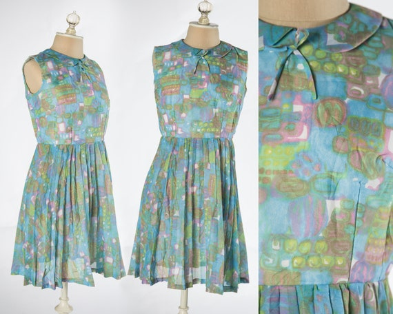 Fun 1960s Pastel Abstract Print Sleeveless Mini Dr