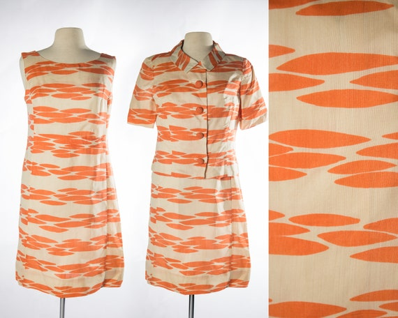 Fun 1960s Two Piece Dress and Jacket Orange and Of