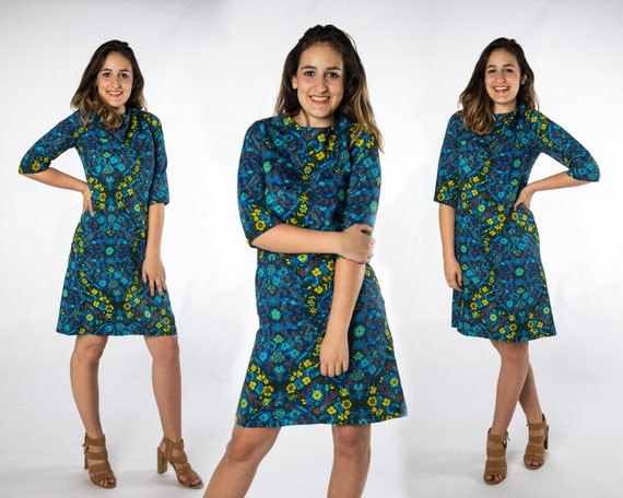 Funky 1960's Blue Dress with Blue and Green Flower
