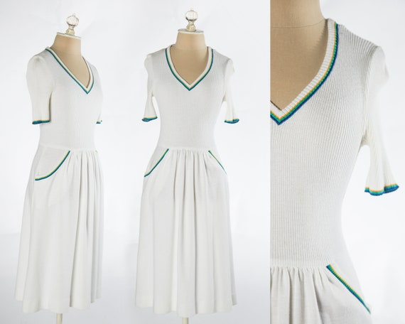 Fun 1970s White Knit Dress with Rainbow Details by