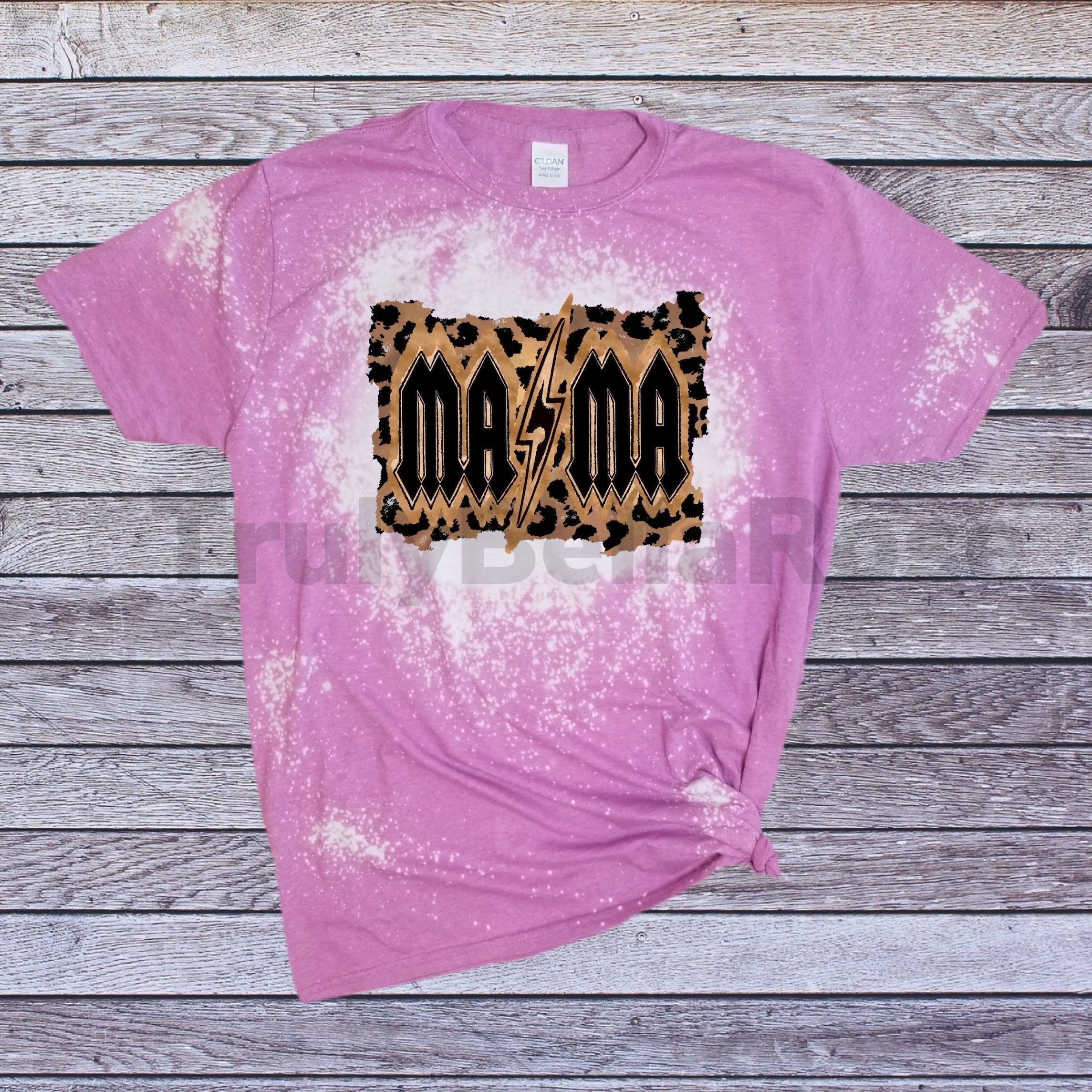 Bleached ACDC Style MaMa Tshirt Leopard