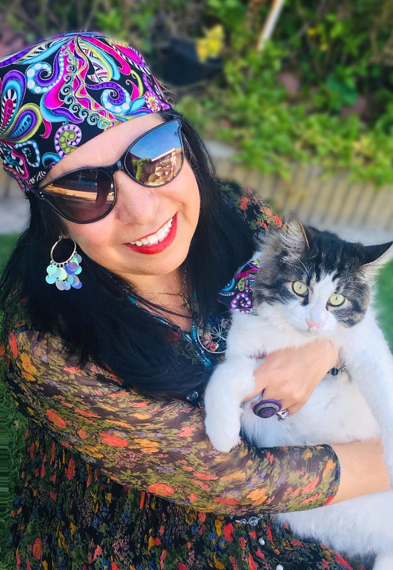 Bandana Mystic Cat Multi-colored paisley print with gold accents
