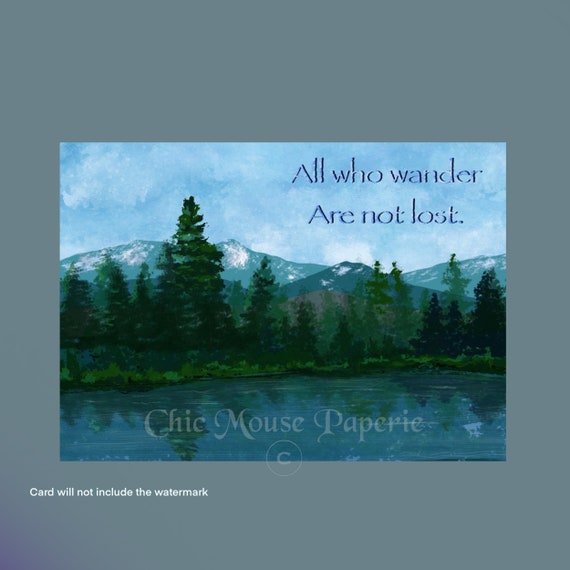 not all who wander are lost blank note card set of 8