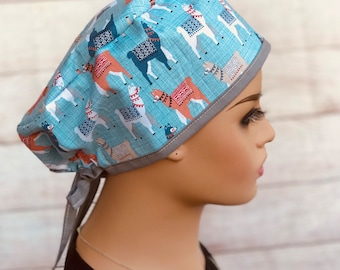 Pink  Llama Surgical Scrub Cap with Ties or Ponytail Holder