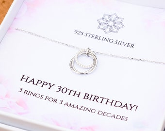30th birthday necklace gift for her | 3 rings for 3 decades | |three decades pendant | Personalised 30th gift idea for daughter best friend