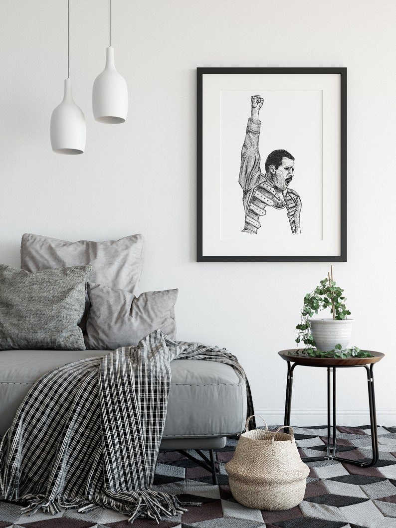 Downloadable Art Print Rock Home Decor Eighties Black /& White Poster Music Printable Art Freddy Mercury Wall Art Queen