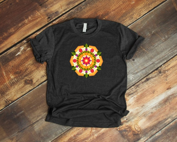 Prismatic Floral Mandala Unisex T Shirt