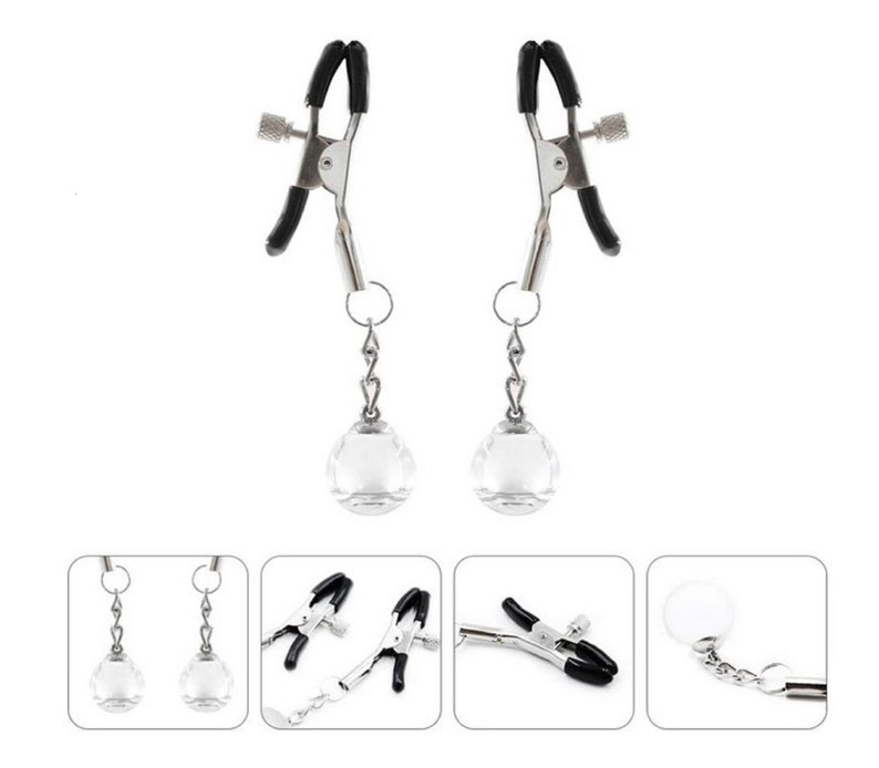 EXCEART 1 Pair Adjustable Metal Non Piercing Nipple Clamps with Glass Ball Women Body Chains