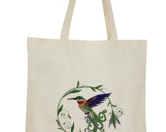 Hummingbird Embroidered Cotton Canvas Market Bag