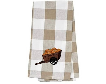 Wagon of Pumpkins Embroidered Kitchen Towel. 100% Cotton Towels