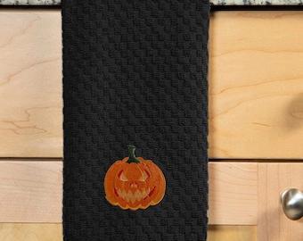 Jack O Lantern Embroidered Kitchen Towel. 100% Cotton Towels