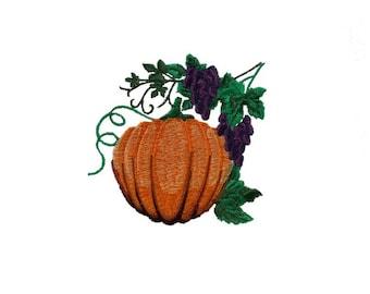 Pumpkin Embroidered Kitchen Towel.  Autumn Theme Cotton Dish Towels