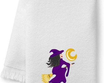 Halloween Witch Embroidered Bath Towels. 100% Cotton Hand or Fingertip Towel