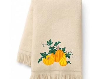 Autumn Pumpkins Embroidered Bath Towels. 100% Cotton Hand or Fingertip Towel