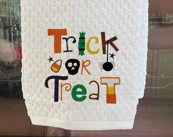 Trick or Treat Halloween Embroidered Kitchen Towel. 100% Cotton Towels