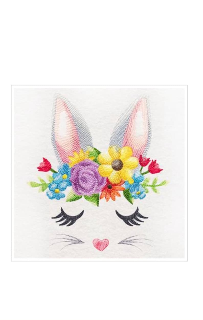 Kitchen or Bath Hand Towel Bunny with Flowers Embroidered on Cotton Towels