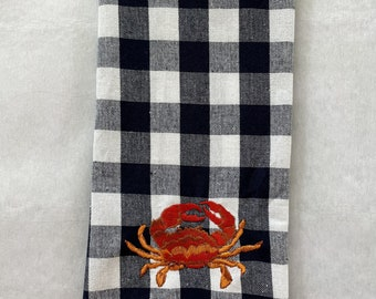 Crab Embroidered Kitchen Towel. Cotton Dish Towels