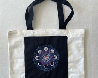 Cosmic Moon Phases with Pocket Embroidered Cotton Canvas Market Bag