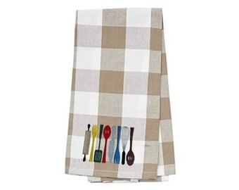 Kitchen Utensils Embroidered Kitchen Towel. Cotton Dish Towels