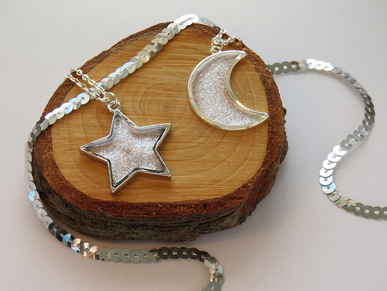 Star Necklace  Moon Necklace  Sparkly Resin Winter Jewellery image 0
