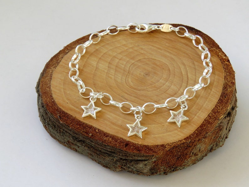 Sparkly Star Bracelet  Resin Star Charms  Sterling Silver image 0