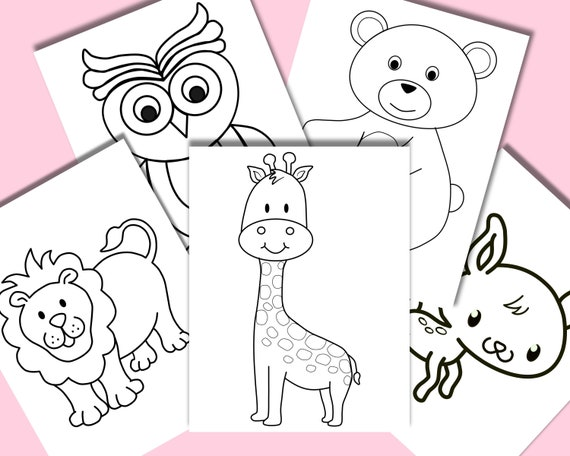 Jungle animal coloring pages set of 5 Kids coloring pages