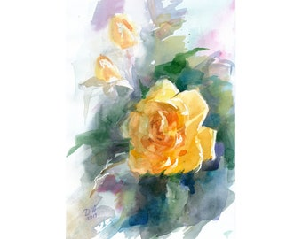 roses,floral decor,impressionistic watercolor art,fine,Mother\u2019s Day gift Yellow roses Watercolor art,painting for mom,Spring decor for home