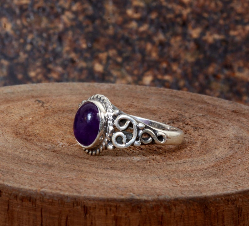 Amethyst ring,Handmade Ring,925 Starling silver Ring,Vintage ring,Unique Ring,Antique Ring,Boho Ring,Anniversary Ring,Deco ring,Gift For Her