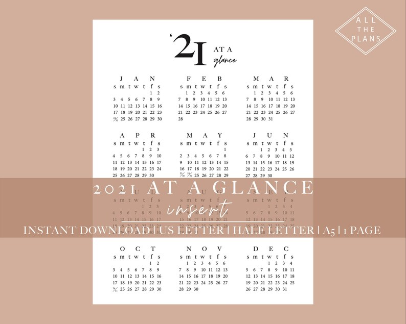 2021 Year at a Glance Planner Printable 2021 Yearly ...