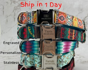 Dog Collar Personalized | Metal Buckle Dog Collar | Custom Name & Phone Number | For Girl Boy | Ship in 1 Day.