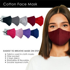 mouth covering large selection mouth nose mask with ear gum variant with noseband possible, 2 layers of pure cotton Makeshift mask