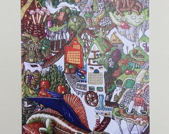 Print of a drawing - Dimetrodon/Dragons and Fantastic Landscape