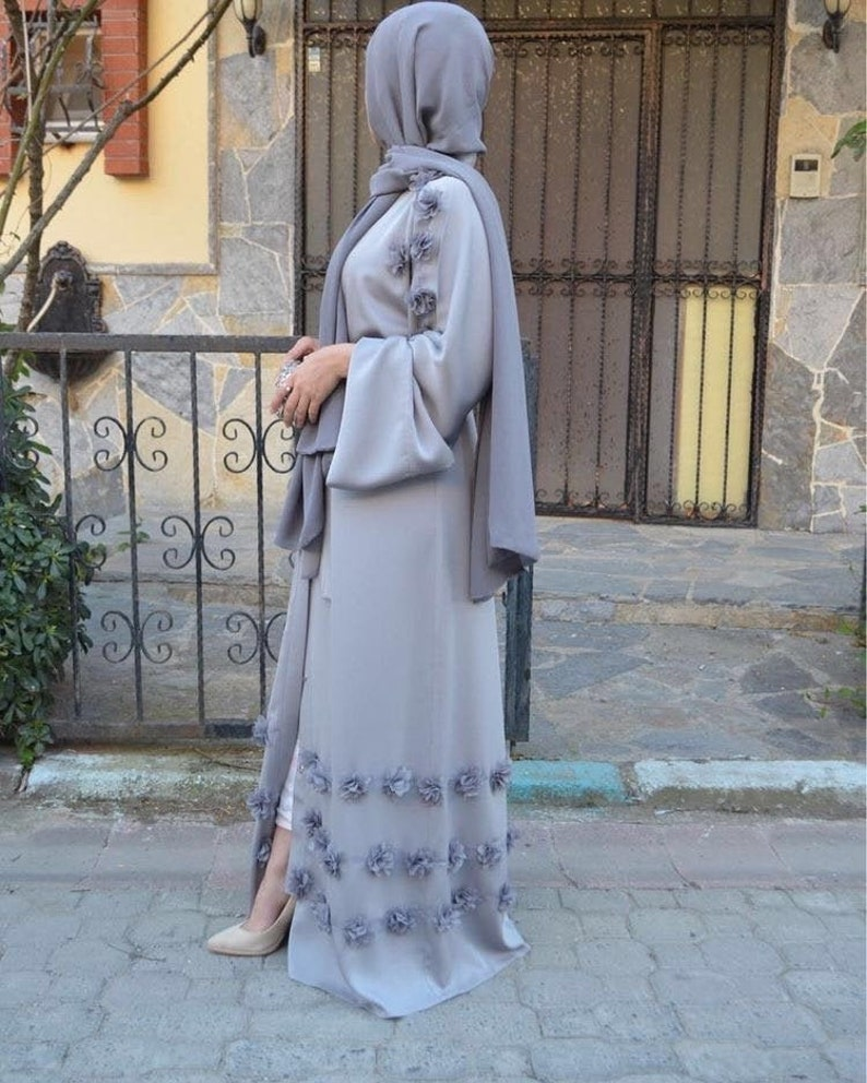 Modest Clothing Grey Abaya Maxi Dress RamadanEid Grey Abaya and Cardigan