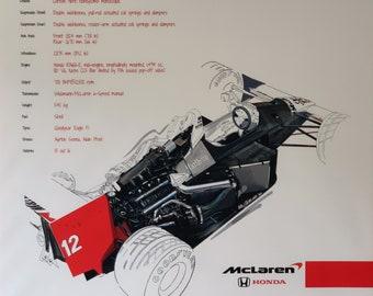 Mclaren Honda F1 MP4/4 Drawing on large canvas
