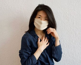 Stylish Face Mask in Cotton Jersey/Vintage Blue/Beige for Everyday Use-Comfortable, Stylish, Reusable, Easy To Breath, Washable, No Ironing