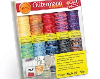 Gutermann Deco Stitch Polyester Embroidery hand and Machine Thread Set 70m x 10 reels